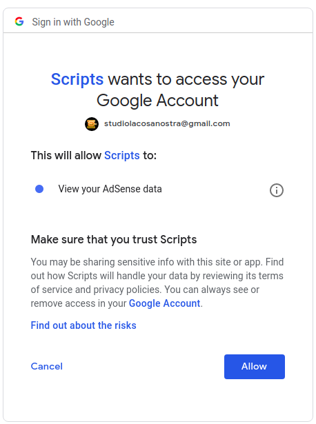 Google adsense authorization grant access prompt