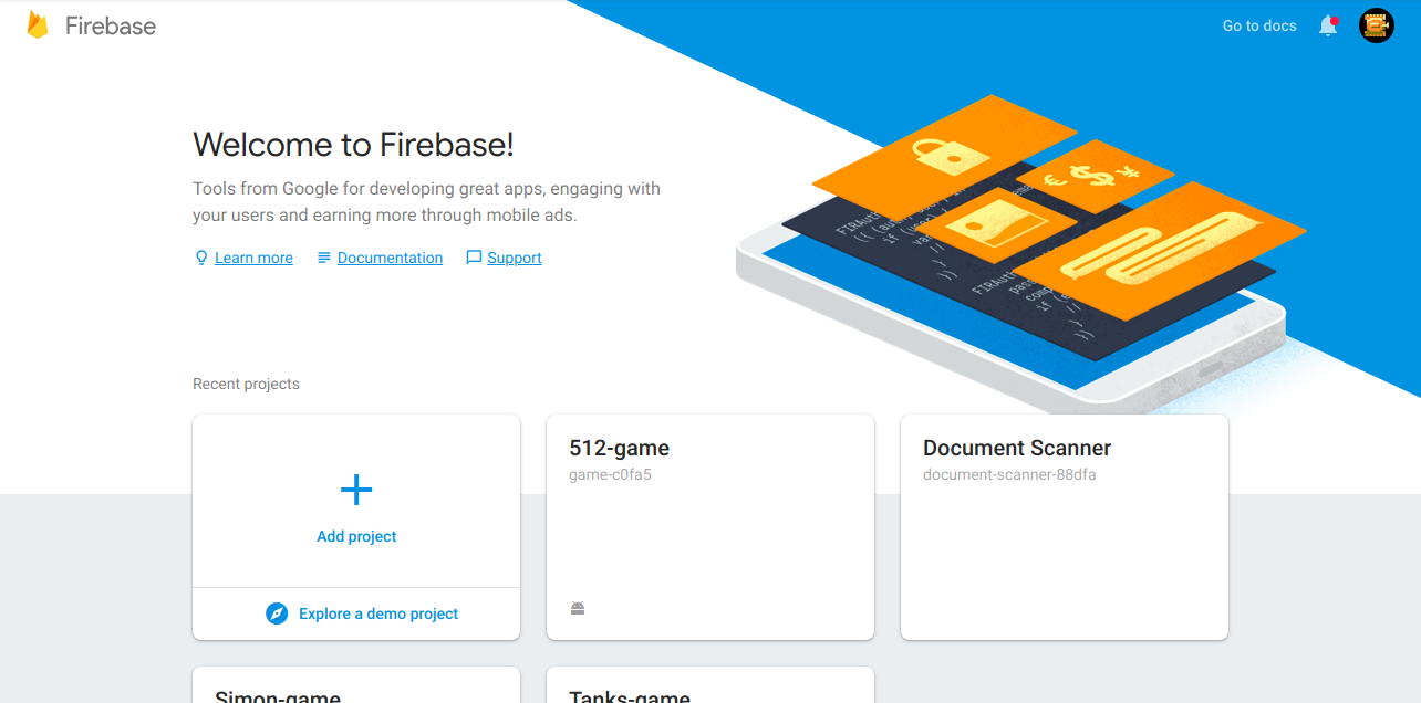 Firebase console dashboard after login
