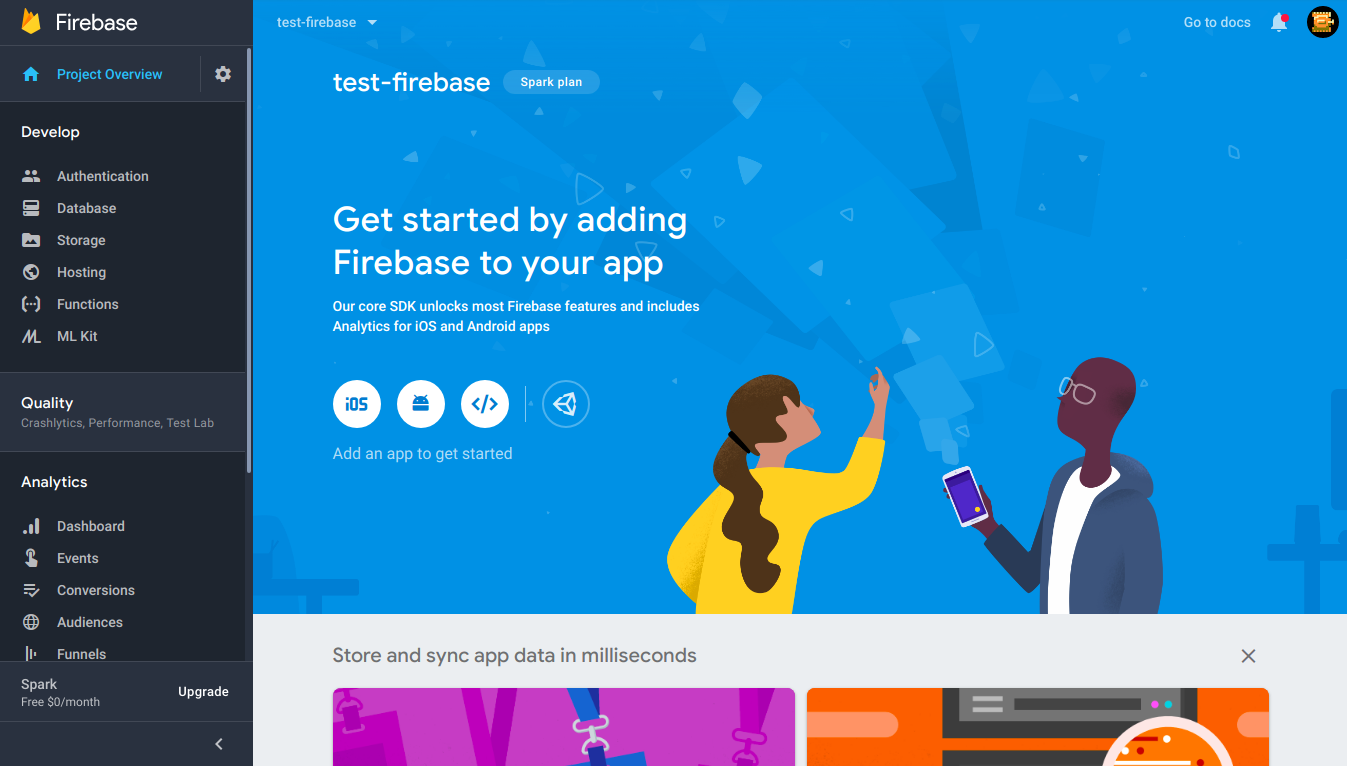 Firebase console project dashboard