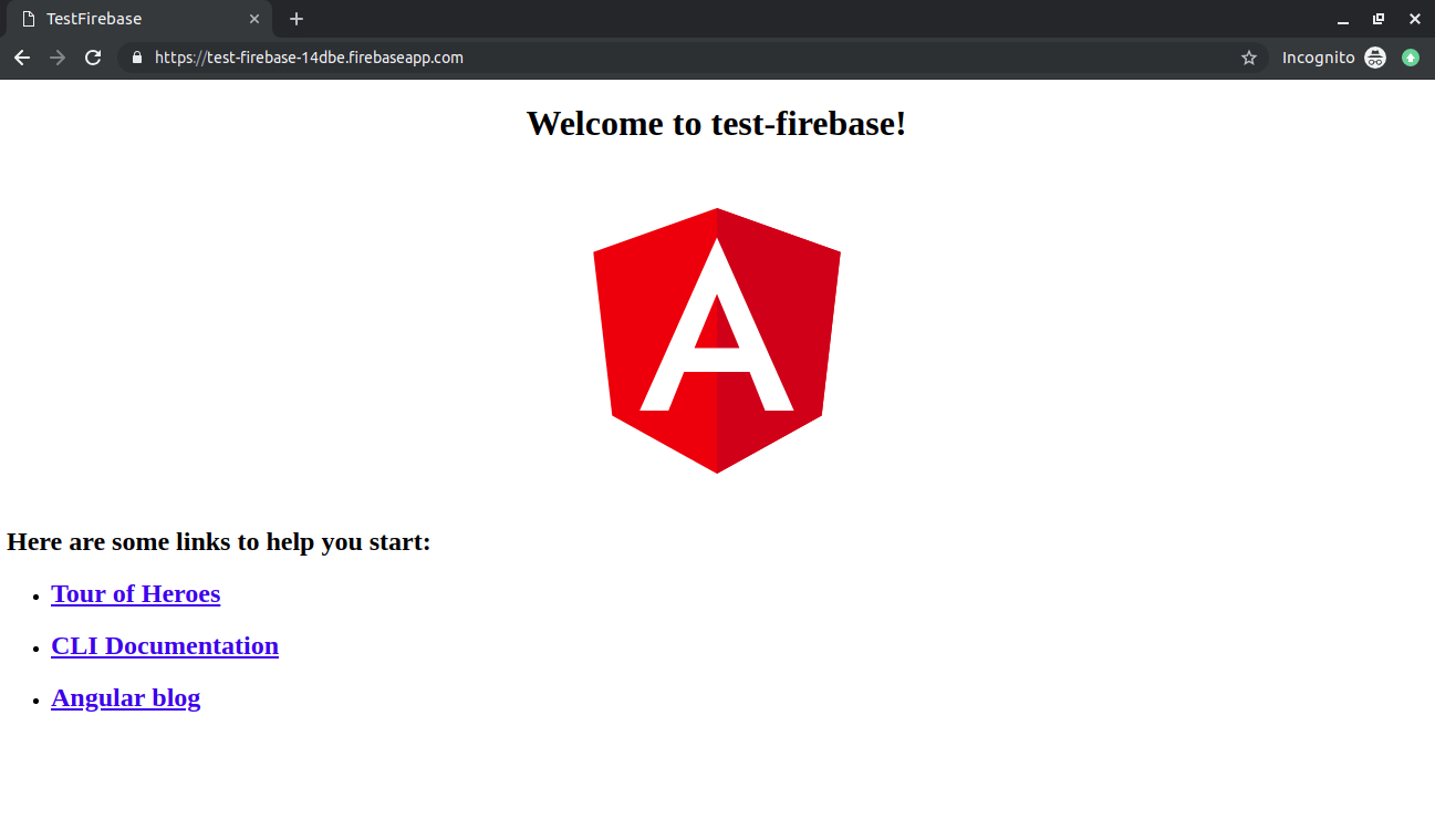 Test firebase angular application view