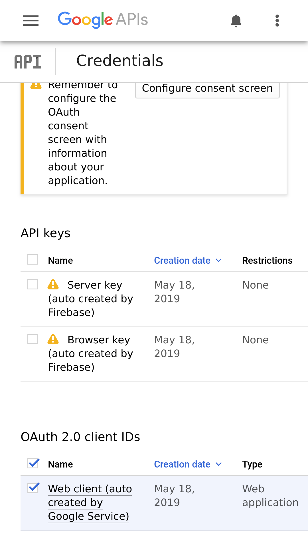Google APIs console: Credentials